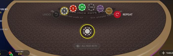 Infinite Blackjack heeft extra inzet mogelijkheden waardoor dit spel extra aantrekkelijk is