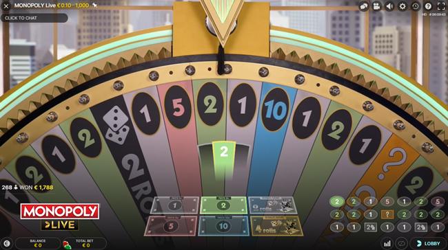 Bij Monopoly live kan je aan de hand van 1 spin 500.000 euro winnen