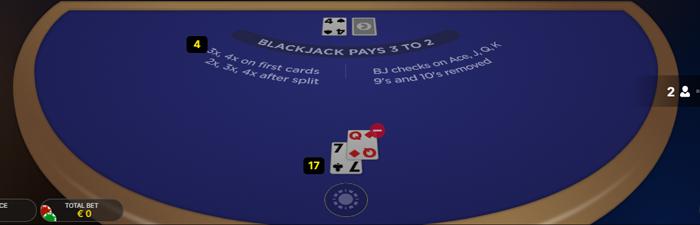 Met Power Blackjack kan je je inzet verdubbelen, verdrievoudigen en verviervoudigen