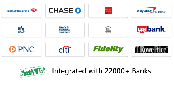 Integrated with 22000+ banks