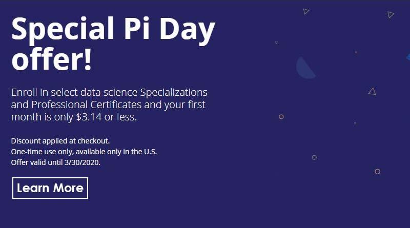 Pi day promo 2020 coursera