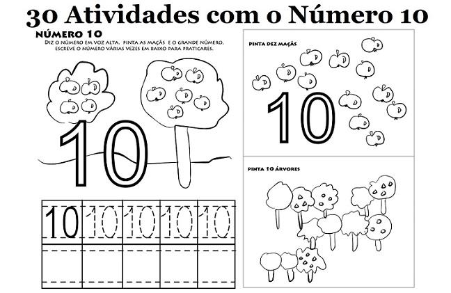 30 Atividades com o Número 10 para Imprimir - Educação