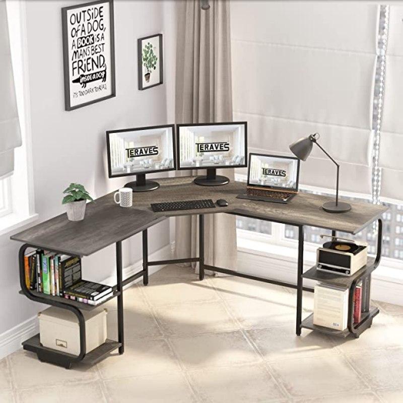 Travel Modern L Shaped Desk with Shelves, Computer Desk/Gaming Desk