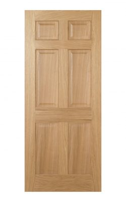 Regency Pre-Finished Oak 6 panel Internal Door - Imperial Size