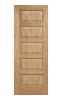 Pre-Finished Oak- Contemporary 5 panel Internal Fire Door