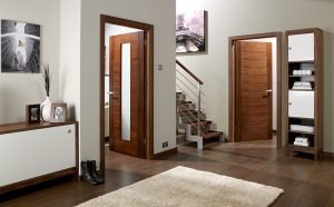 hallway with brown doors
