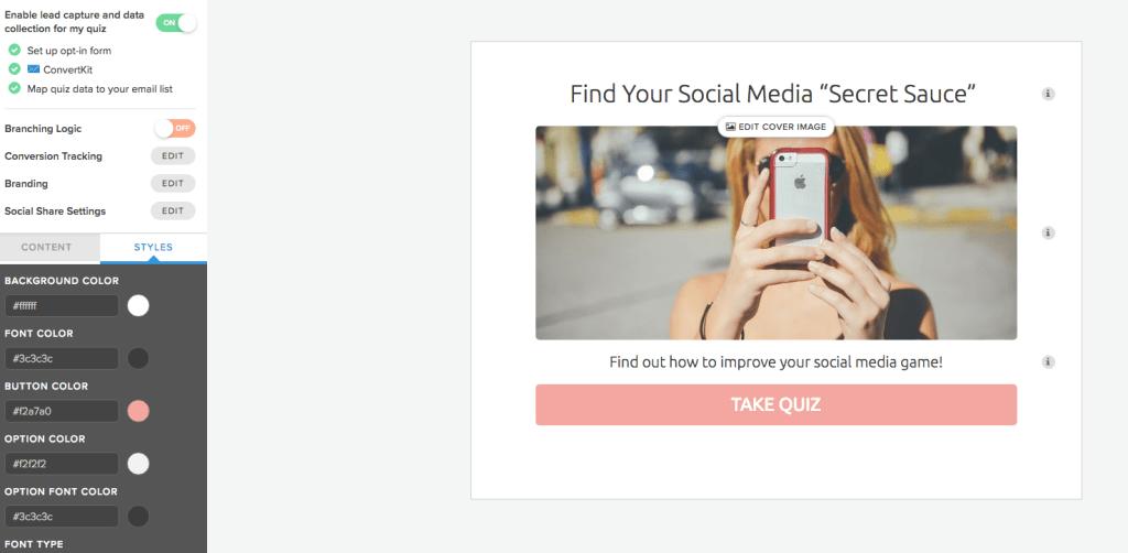 Customize Interact Quiz