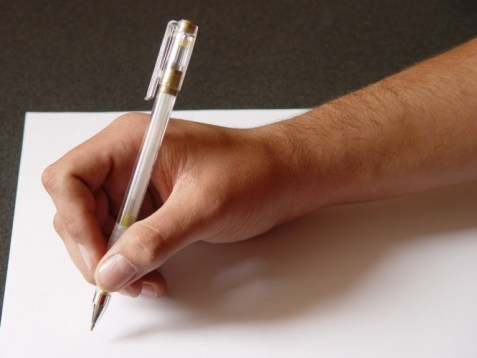 writing on piece of paper