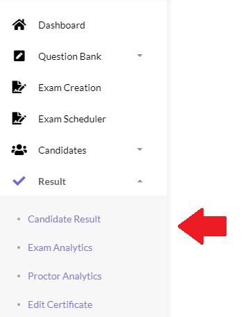 Online Exam Result Menu