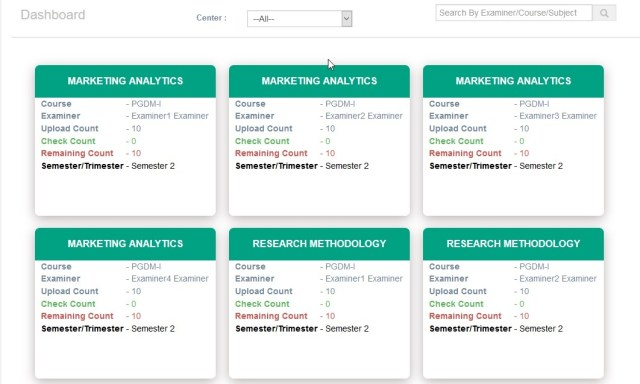 Admin Dashboard for Onscreen Evaluation Process