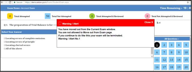 Online Exam window alert screen