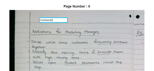 Add Comments during digital evaluation of answer sheets