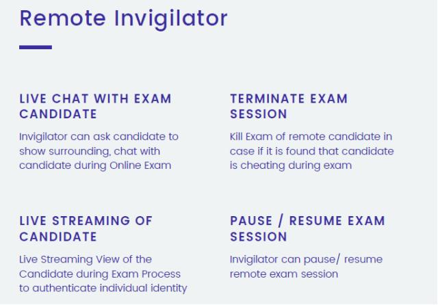 Remote Invigilator Role During Online Exams