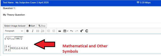Mathematical symbols on subjective exams