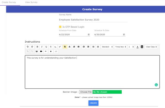 Create Online Survey Step1