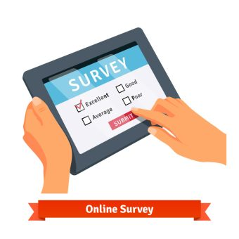 Online survey on a tablet. Flat style vector illustration isolated on white background.