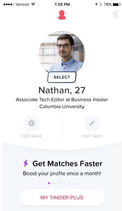 Filter for Tinder select