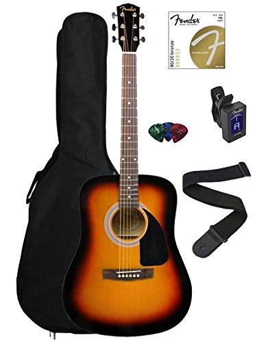 41MEVtSXqxL - Fender FA-100 Dreadnought Acoustic Guitar Bundle with Gig Bag, Tuner, Strap, Picks, Strings - Sunburst