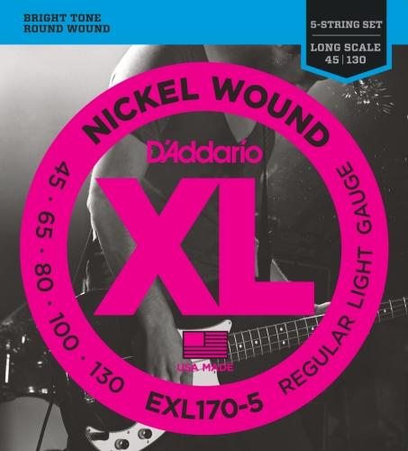 71DGS3LnpjL - D'Addario EXL170-5 5-String Nickel Wound Bass Guitar Strings, Light, 45-130, Long Scale