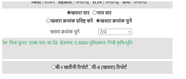chattisgarh khasra khatoni report 3