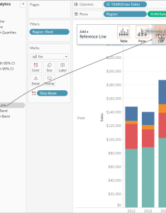 From the analytics pane drag  reference line into view and drop it on cell also build bar chart tableau rh onlinehelp
