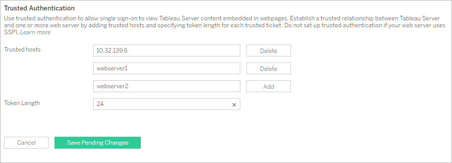 Add Trusted IP Addresses or Host Names to Tableau Server