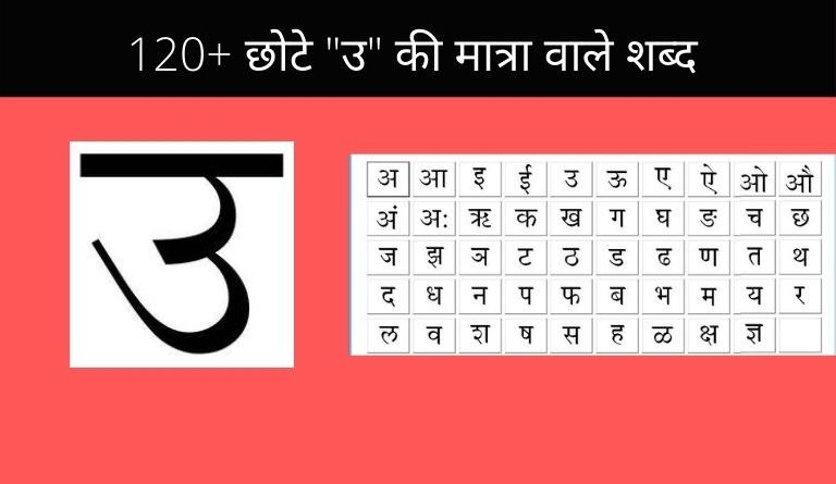 Chhote U Ki Matra Ke Shabd Images PDF Worksheet