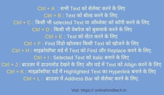 Keyboard Shortcut Keys in Hindi Ctrl A to Z