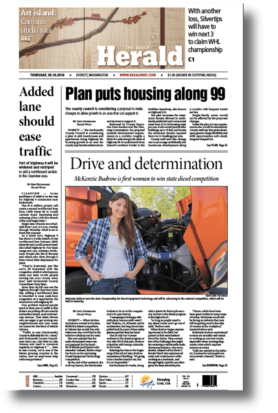 Everett Herald Newspaper Features McKenzie Budrow on the front page