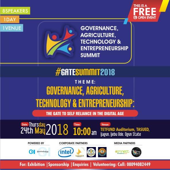"""Olawale Ayilara, Oluwatobi Oyinlola, Wole Oduwole, Tobiloba Arewa, others for """"GATE SUMMIT 2018"""" in TASUED, Ijebu Ode"""