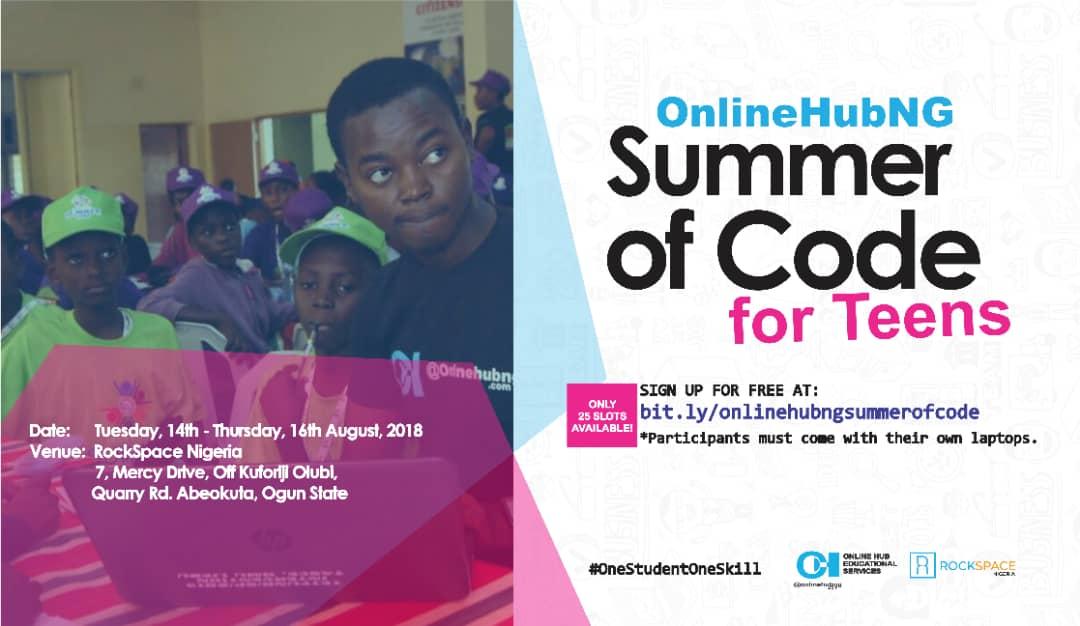 Apply – OnlineHubNG Summer of Code Program 2018 for Teens in Abeokuta