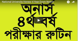 National University Honesr 4 Year Exam Notice