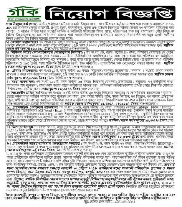 Gram Unnayan karma Guk NGO latest Job Circular 2018