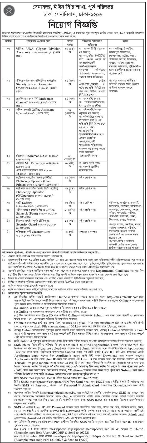 Dhaka Cantonment Job Circular 2018
