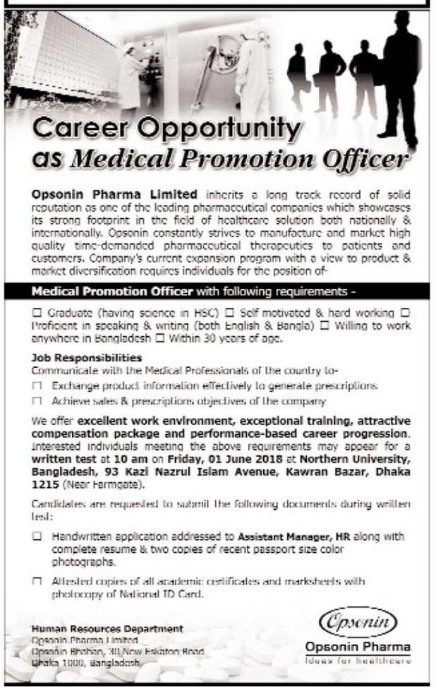 Opsonin Pharma Limited Job Circular 2018
