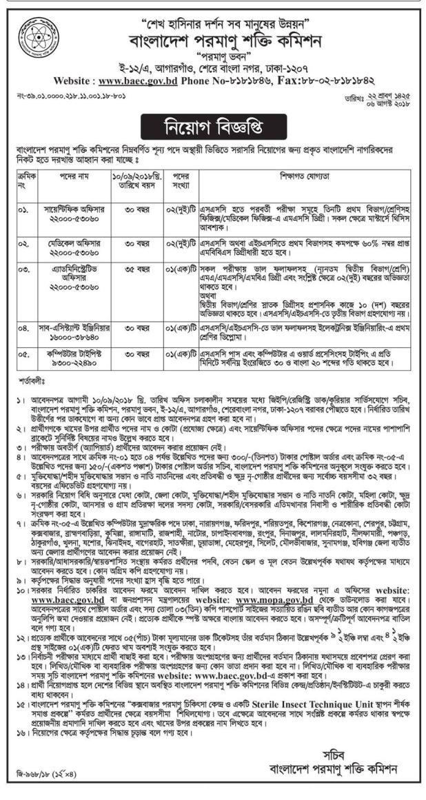 Bangladesh Atomic Energy Commission baec Job Circular 2018