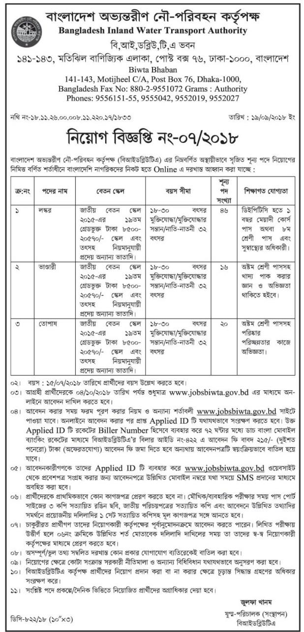 Bangladesh Inland Water Transport Authority BIWTA Job Circular 2018