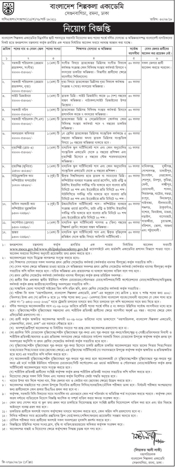 Bangladesh Shilpakala Academy Job Circular 2018 shilpakalaacademy.gov.bdBangladesh Shilpakala Academy Job Circular 2018 shilpakalaacademy.gov.bd