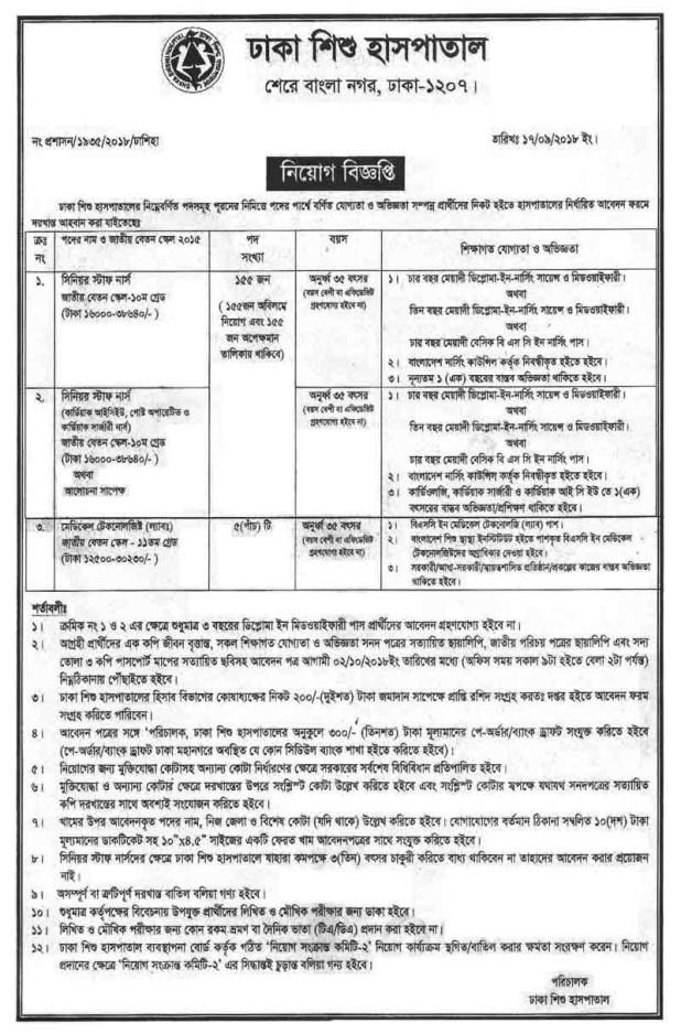 Dhaka shishu hospital job circular 2018