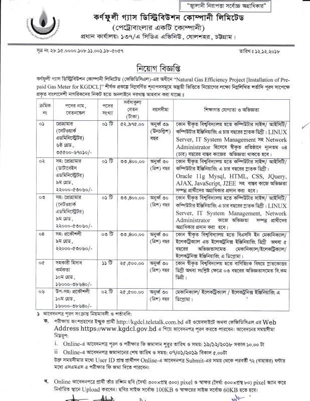 কর্ণফুলী গ্যাস ডিস্ট্রিবিউশন কোম্পানিতে বিভিন্ন পদে চাকরির সুযোগ