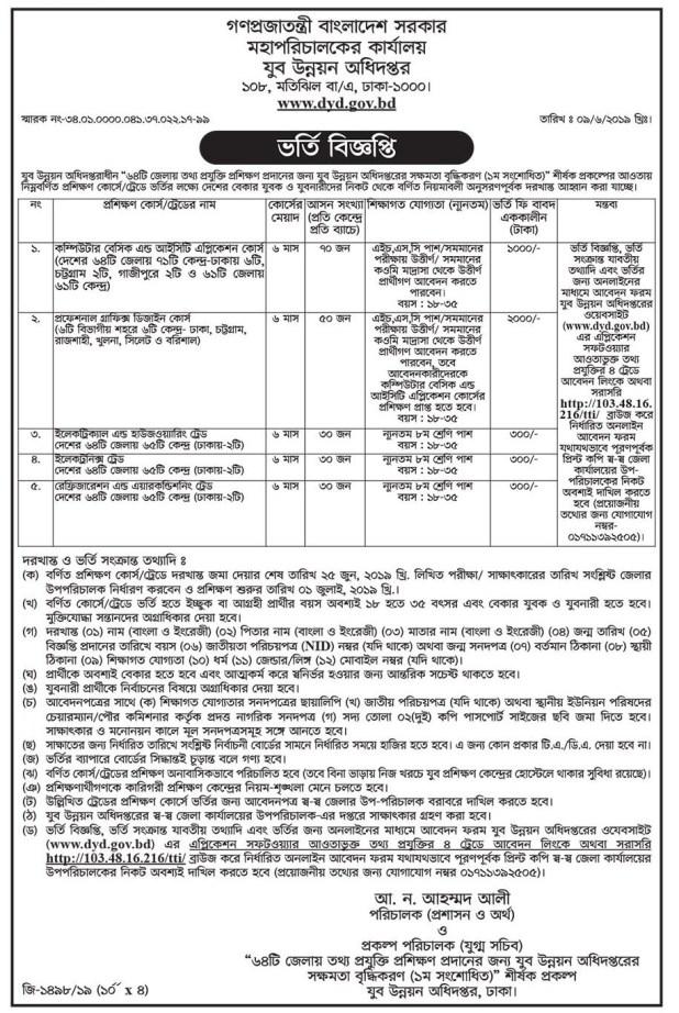 Department Of Youth Development Training Program Admission Circular 2019