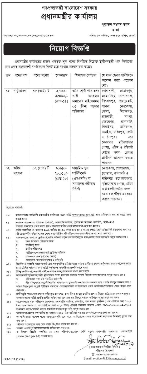 NSI New Job Circular 2019 প্রধানমন্ত্রীর কার্যালয়ের অধীনে নিয়োগ বিজ্ঞপ্তি - Prime Minister Office Jobs