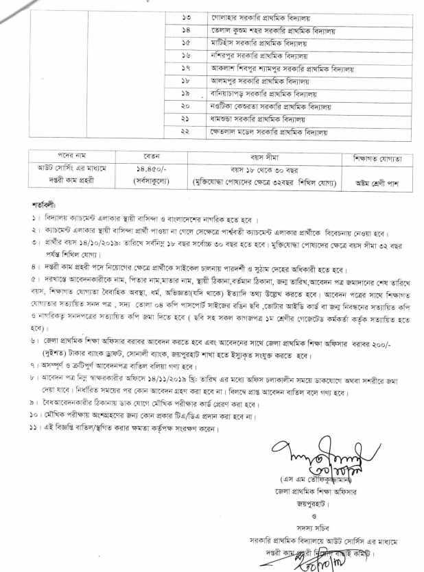 primary school job circular 2019 dpe job corcular