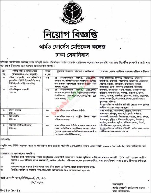 Armed Forces Medical College Job circular 2020