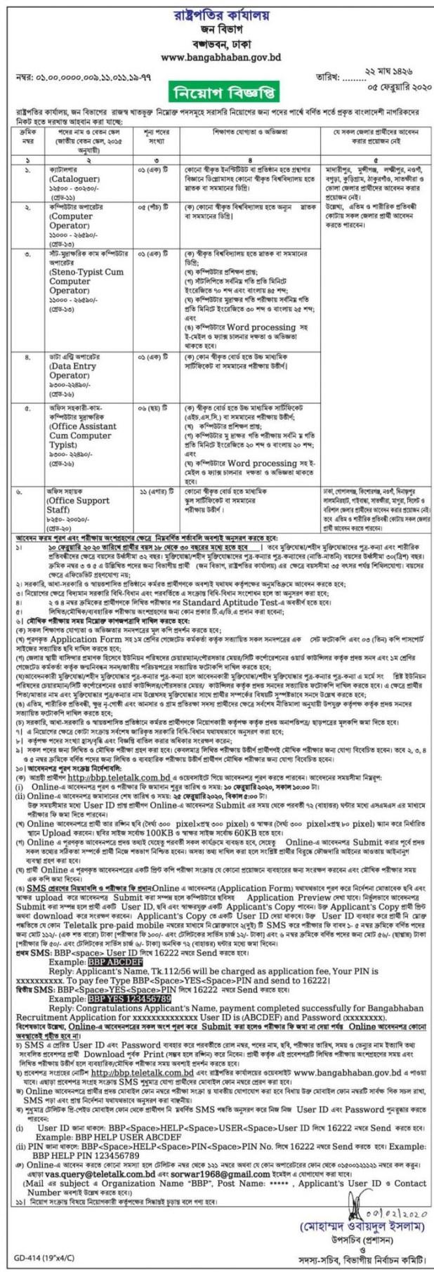 Bangabhaban Job Circular 2020- bangabhaban.gov.bd