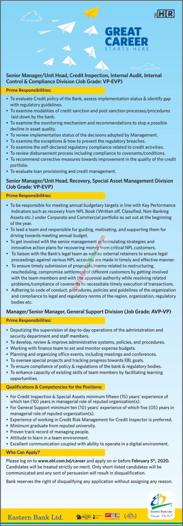 Eastern Bank Job Circular 2020
