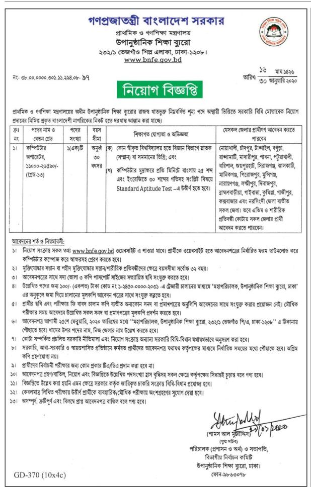 Ministry of Primary and Mass Education Job Circular 2020