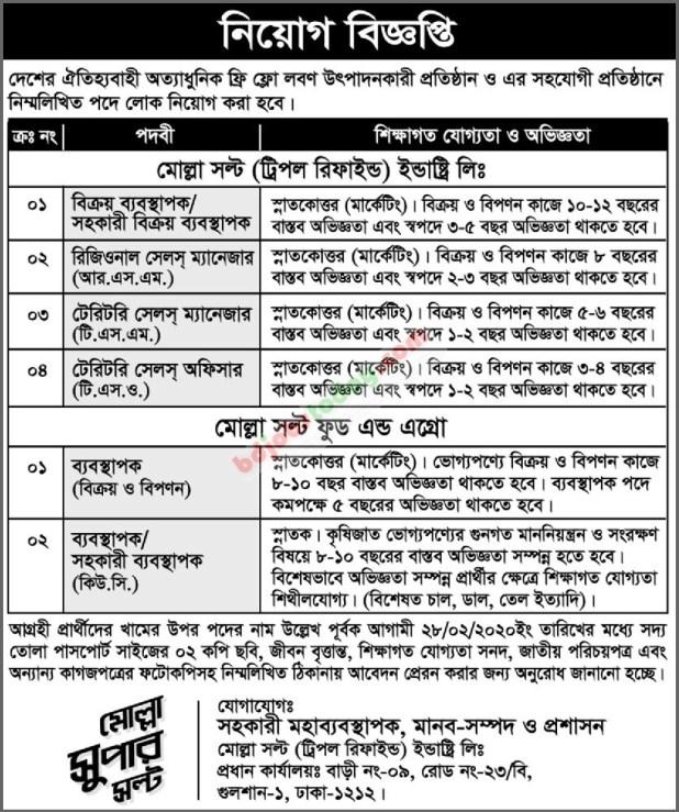 Molla Salt Industry Ltd Job Circular 2020