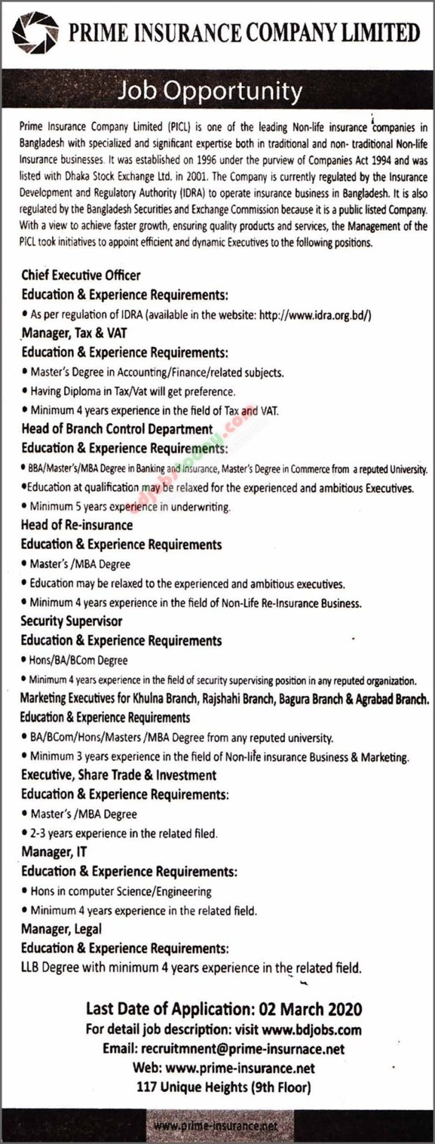 Prime Insurance Company Ltd Job circular 2020