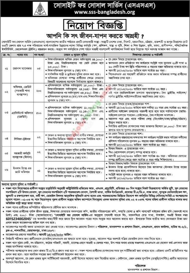 SSS NGO job circular 2020